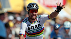 Bora-Hansgrohe's Peter Sagan celebrates winning yesterday's stage of the Tour de France at La Roche-sur-Yon Photo: Reuters