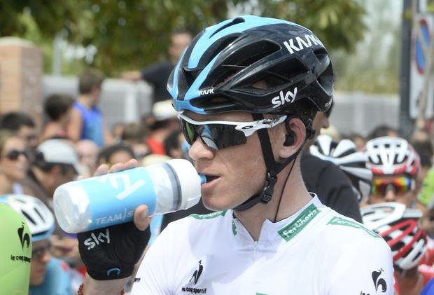 British cyclist Christopher Froome waits for the start of the 7th stage of the 69th edition of 'La Vuelta' Tour of Spain