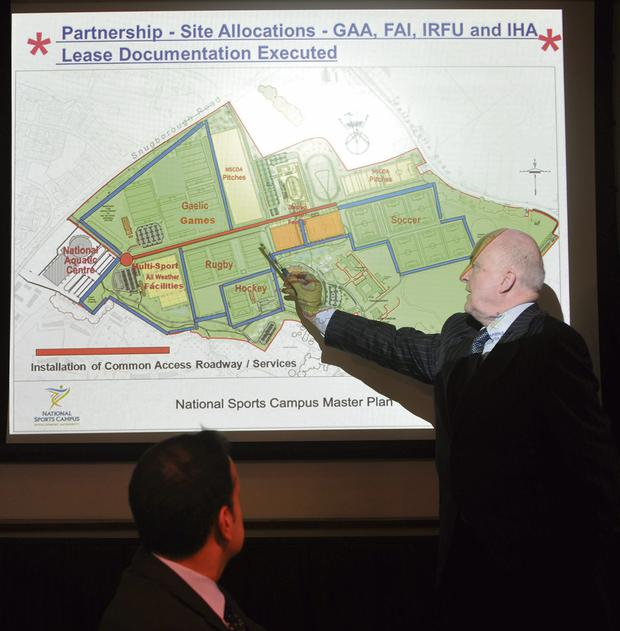 Barry O'Brien, CEO of the campus authority, and Minister Leo Varadkar view plans for the campus, which will recieve €13m in 2014