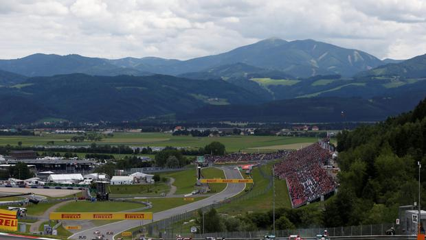 Nico Rosberg leads Lewis Hamilton and Sebastian Vettel into the second corner during yesterday's Austrian Grand Prix at the Red Bull Ring in Spielberg