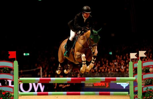Ireland's Cian O'Connor riding Super Sox competes in the Longines Christmas Cracker Photo:Steve Parsons/PA Wire