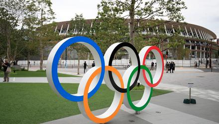 The Olympic Rings logo outside the Olympic Stadium in Tokyo, Japan