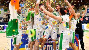 Ireland captain Jason Killeen celebrates lifting the cup with team-mates after their European Championship for Small Countries triumph last month. Photo: Eóin Noonan/Sportsfile