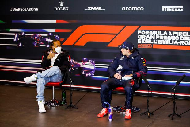 Second placed Lewis Hamilton talks with race winner Max Verstappen after yesterday's F1 Grand Prix of Emilia Romagna at Autodromo Enzo e Dino Ferrari in Imola, Italy. Photo: Florent Gooden/ Getty