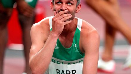 Ireland's Thomas Barr reacts after the first semi-final of the Men's 400 metres hurdles at the Tokyo 2020 Olympic Games in Japan. Photo credit: Martin Rickett/PA Wire.