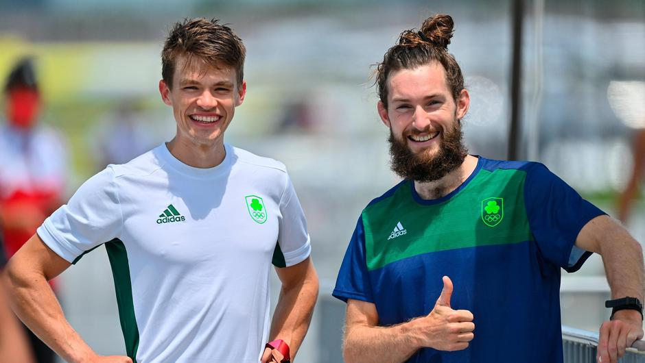 Fintan McCarthy, left, and Paul O'Donovan of Ireland after finishing in 1st place in the heats of the Lightweight Men's Double Sculls at the Sea Forest Waterway during the 2020 Tokyo Olympic Games. Photo by Seb Daly/Sportsfile