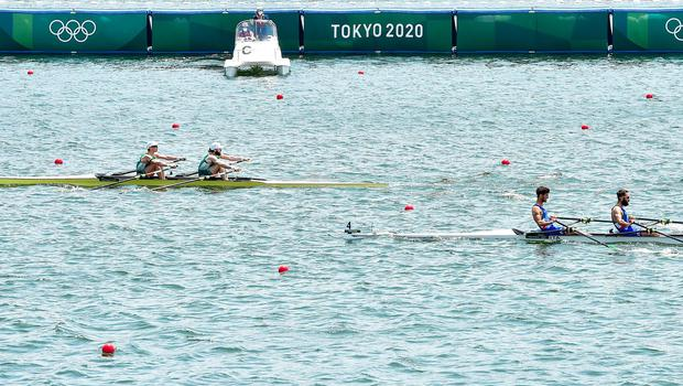 Fintan McCarthy, left, and Paul O'Donovan of Ireland on their way to winning their Men's Lightweight Double Sculls semi-final, from second place Italy at the 2020 Tokyo Summer Olympic Games. Photo by Seb Daly/Sportsfile