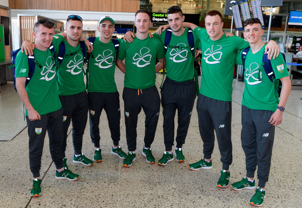 Team Ireland boxers, from left, Paddy Barnes, David Oliver Joyce, Michael Conlan, Michael O'Reilly, Joe Ward, Stephen Donnelly and Brendan Irvine prior to their departure for the 2016 Olympic Games in Rio at Dublin Airport. Photo: Brendan Moran