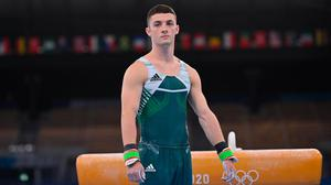 Rhys McClenaghan competing on the Pommel Horse in artistic gymnastics qualification at the Ariake Gymnastics Centre during the 2020 Tokyo Summer Olympic Games in Tokyo, Japan. Photo: Ramsey Cardy/Sportsfile