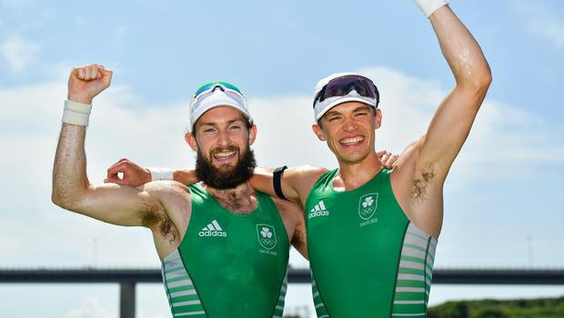 Paul O'Donovan (left) and Fintan McCarthy celebrate after winning the Men's Lightweight Double Sculls final at the Sea Forest Waterway during the 2020 Tokyo Summer Olympic Games in Tokyo, Japan. Photo: Seb Daly/Sportsfile