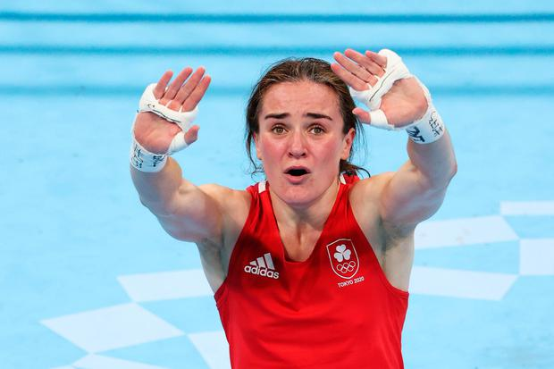 Kellie Harrington celebrates victory and winning a gold medal after her Women's Lightweight final win over Beatriz Ferreira at Kokugikan Arena in Tokyo, Japan. Photo: Julian Finney/Getty Images