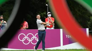 Rory McIlroy of Team Ireland in action during the opening round of the Olympic golf tournament. REUTERS/Toby Melville