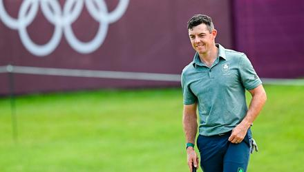 A happy-looking Rory McIlroy gets in his first practice at the Olympics. Photo: Sportsfile