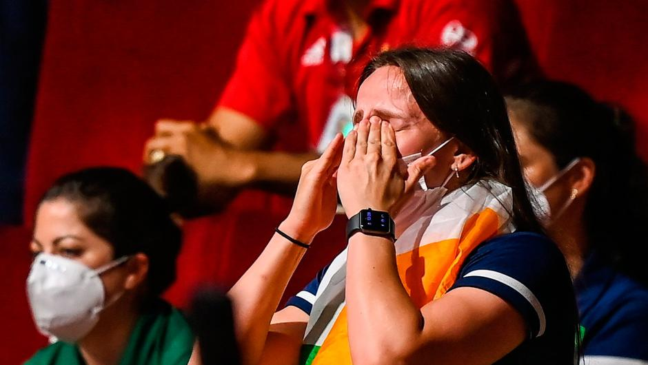 Michaela Walsh reacts after her brother Aidan Walsh of Ireland defeated Merven Clair.