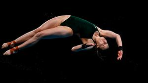 Tanya Watson of Ireland in action during the preliminary round of the women's 10 metre platform at the Tokyo Aquatics Centre