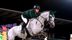 Cian O'Connor of Ireland riding Kilkenny during the jumping individual final