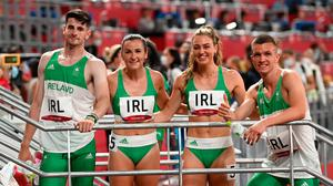 The Ireland 4x400 mixed relay team, from left, Cillin Greene, Phil Healy, Sophie Becker and Christopher O'Donnell after their heat of the 4x400 metre mixed relay at the Olympic Stadium in Tokyo. Photo: Stephen McCarthy/Sportsfile