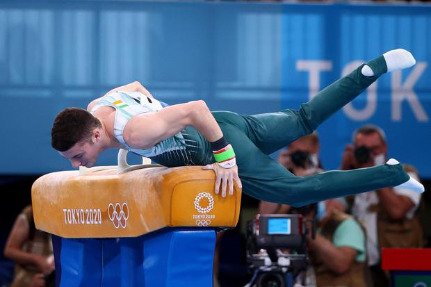 Rhys McClenaghan of Ireland slips during his routine on the pommel horse during the Tokyo Olympics. REUTERS/Lindsey Wasson