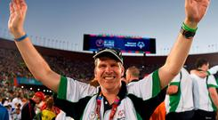 Donal O'Mahoney, from Kilcoole, Co Wicklow, during the opening ceremony of the Special Olympics in Los Angeles