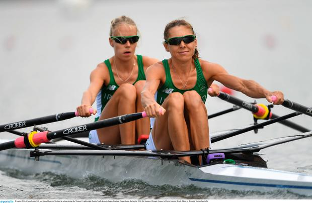 Claire Lamb, left, and Sinead Lynch of Ireland in action during the Women's Lightweight Double Sculls heats in Lagoa Stadium, Copacabana, during the 2016 Rio Summer Olympic Games in Rio de Janeiro, Brazil. Photo by Brendan Moran/Sportsfile