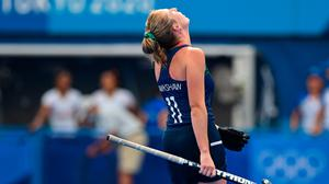 Sarah Hawkshaw of Ireland reacts at the final whistle