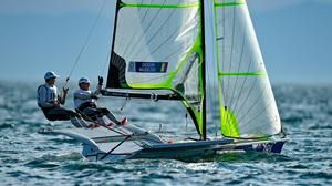 Sean Waddilove, left, and Robert Dickson in action during the 49er Men at the Enoshima Yacht Harbour. Photo by Brendan Moran/Sportsfile