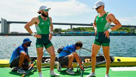 Fintan McCarthy, right, and Paul O'Donovan of Ireland after winning the Men's Lightweight Double Sculls final at the Sea Forest Waterway during the 2020 Tokyo Summer Olympic Games in Tokyo, Japan. Photo by Seb Daly/Sportsfile
