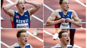 Karsten Warholm of Norway reacting after realizing he had set a new world record at the Tokyo Olympics. Photo: Reuters