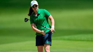 Leona Maguire of Ireland reacts to a putt going close on the 12th green