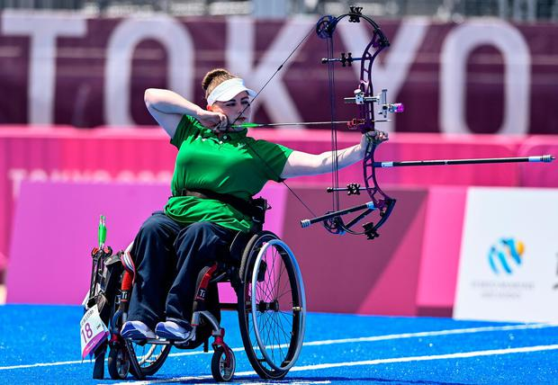 Kerrie Leonard of Ireland competing in the W2 Compound Women's Open 1/8 Elimination Round. Photo: Sportsfile