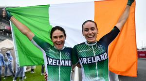 Katie-George Dunlevy (left) and Eve McCrystal celebrate after winning a second gold medal. Image credit: Sportsfile.