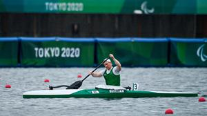 Patrick O'Leary of Ireland after competing in the Men's VL3 200 metre sprint heats at the Sea Forest Waterway during the Tokyo 2020 Paralympic Games. Photo by Sam Barnes/Sportsfile