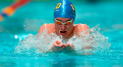Darragh Greene, UCD, on his way to wining his heat of the Men's 50m Breaststroke