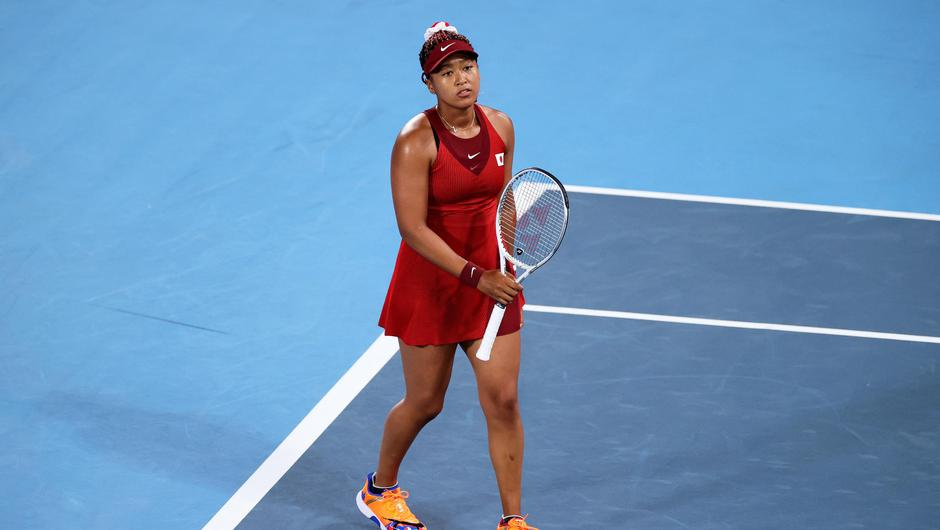 Naomi Osaka, in action for Team Japan during the Tokyo Olympics, broke down at a press conference on Monday. Photo: Getty Images