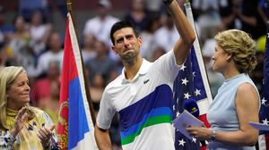 Novak Djokovic waves to the crowd after losing to Daniil Medvedev in the men's singles final at the US Open. Photo: Elise Amendola/AP
