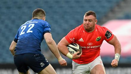 Munster's Dave Kilcoyne of Munster in action against Leinster's Jonathan Sexton during their Guinness PRO14 final at the RDS last March. Photo: Brendan Moran/Sportsfile