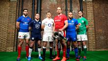Captains (l-r) Charles Ollivon (France), Stuart Hogg (Scotland), Owen Farrell (England), Alun Wyn Jones (Wales), Luca Bigi (Italy) and Ireland's Jonathan Sexton at the Six Nations launch. Photo: Steven Paston/PA Wire