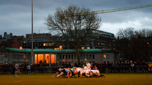 Players from Trinity College and UCD scrum down during the colours match in 2018. This year's game was due to take place yesterday but was cancelled