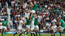Ireland's Paul O'Connell and England's Chris Robshaw contest a lineout during yesterday's World Cup warm-up match at Twickenham Photo: Paul Harding