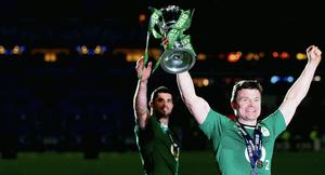 Brian O'Driscoll with the Six Nations trophy after the match at the Stade de France