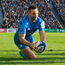 Dave Kearney touching down against Lyon. Photo: Ramsey Cardy/Sportsfile