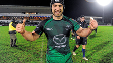 John Muldoon celebrates victory over the Dragons at the Sportsground last season
