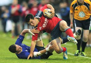 Stephen McMahon in action for the Munster U20s in their loss to Leinster