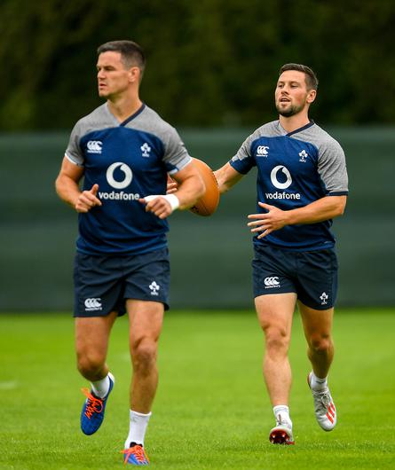 John Cooney (right) and Johnny Sexton at Ireland training. Image credit: Sportsfile.