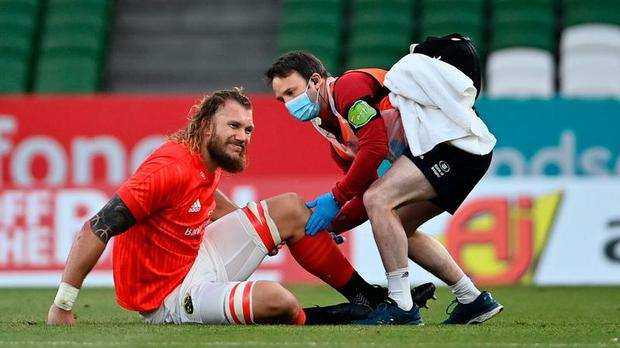 Munster's RG Snyman has suffered a setback on his road to recovery from an ACL injury suffered last year
