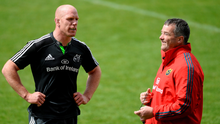Paul O'Connell shares a joke with Anthony Foley