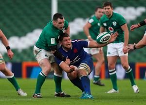 Ireland's Cian Healy (left) and France's Paul Willemse in action during the Six Nations match at the Aviva Stadium, Dublin.