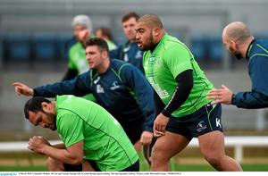 Rodney Ah You and George Naoupu (left) in action during training at the Sportsground