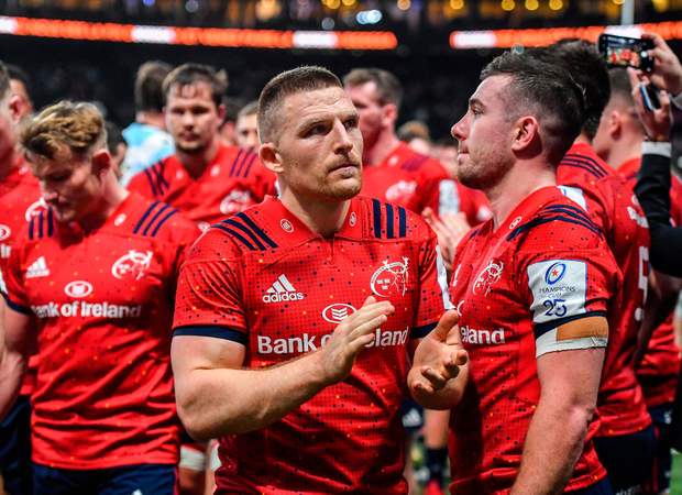 Rueful Reds: Andrew Conway gestures to Munster supporters following defeat to Racing 9. Photo: Sportsfile