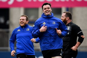 Sean Cronin and James Ryan enjoy a lighter moment in training this week. Photo: Sportsfile